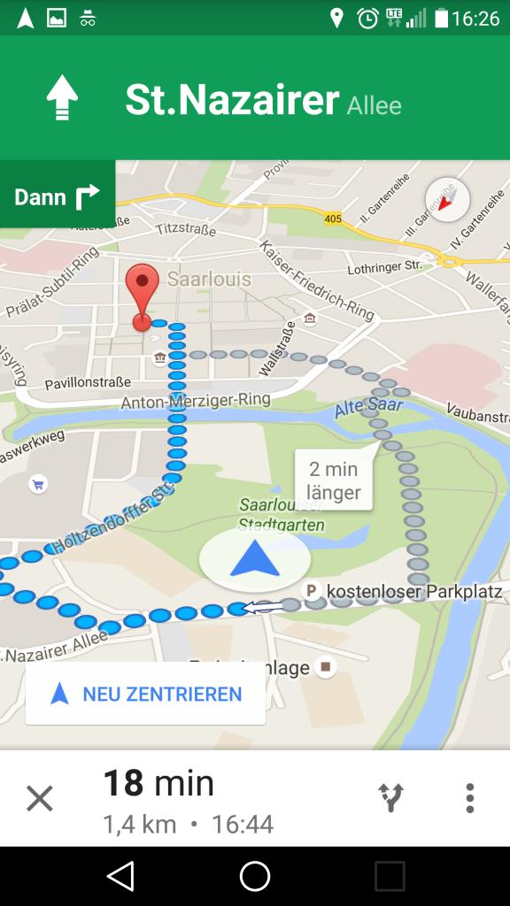 Vorgeschlagene Route