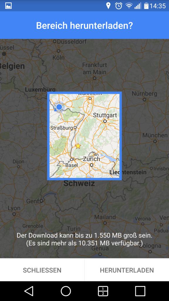 Bereich herunterladen in Google Maps